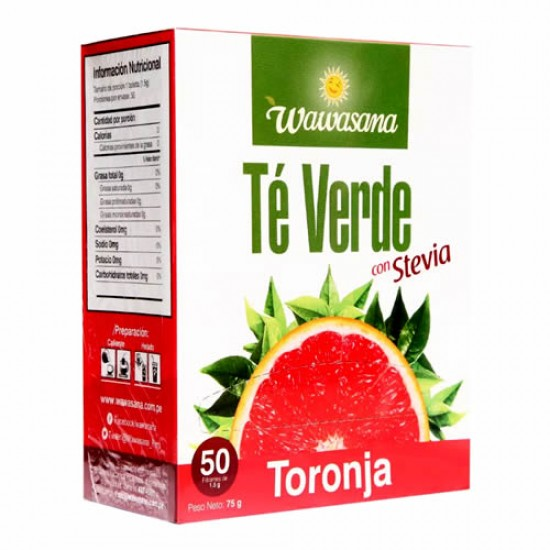 WAWASANA - GREEN TEA INFUSIONS WITH GRAPEFRUIT , BOX OF 50 TEA BAGS