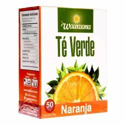WAWASANA - GREEN TEA INFUSIONS WITH ORANGE , BOX OF 50 TEA BAGS