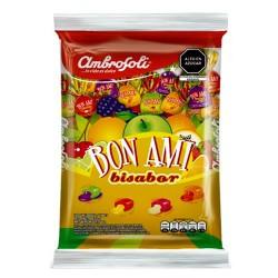 AMBROSOLI - BON AMI ( BISABOR ) CANDIES FILLED MIXED FRUIT FLAVORS, BAG X 100 UNIT