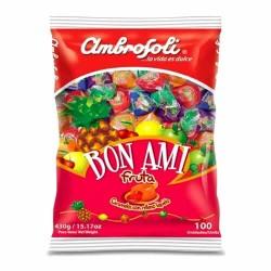 AMBROSOLI BON AMI - FRUIT FLAVORED FILLED CANDIES - BAG X 100 UNITS