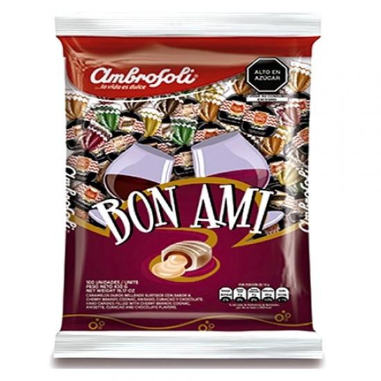 AMBROSOLI - BON AMI LIQUOR-FLAVORED FILLED CANDIES - BAG X 100 UNIT