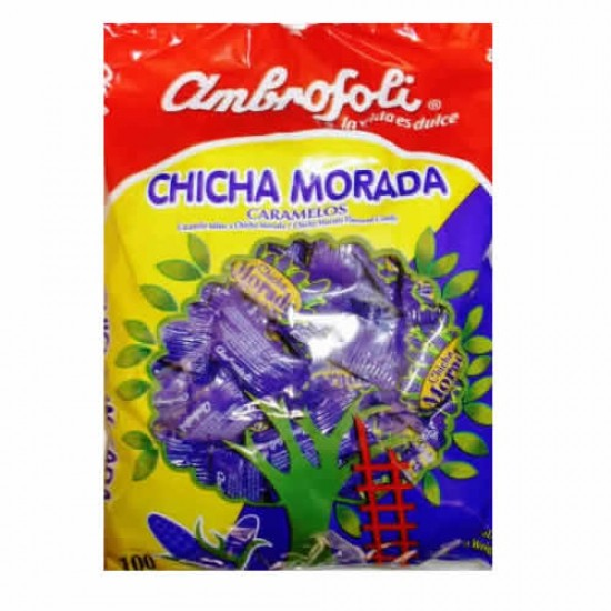 AMBROSOLI - CHICHA MORADA CARAMELS CANDIES ,  BAG  X 100 UNITS