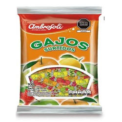 "AMBROSOLI ""GAJOS"" - HARD CANDIES ASSORTED FRUIT FLAVORED , BAG  X 100 UNIT"