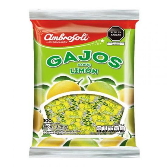 "AMBROSOLI ""GAJOS""- HARD CANDIES LEMON FLAVORED , BAG 390 GR X 100 UNITS"