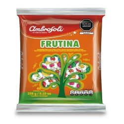 "AMBROSOLI "" FRUTINA"" - HARD CANDIES FLAVORED ASSORTED FRUIT  ,BAG x 60 UNITS"
