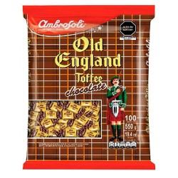 """AMBROSOLI """"OLD ENGLAND"""" - MILK TOFFEES CHOCOLATE FLAVORED , BAG X 80 UNITS"""