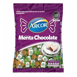 ARCOR - MINT CANDIES FILLED WITH CHOCOLATE , BAG  x 100 UNITS