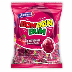 BON BON BUM - BUBBLE GUM POPS, INTENSE CHERRY FLAVOR - BAG x 24 UNIDADES