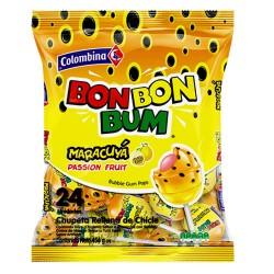 BON BON BUM - BUBBLE GUM POPS - PASSION FRUIT FLAVOR , BAG x 24 UNIDADES
