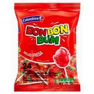 BON BON BUM - LOLLIPOPS STRAWBERRY FLAVOR  BAG x 24 UNIDADES