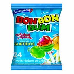 BON BON BUM  TROPICAL SPLASH - BUBBLE GUM POPS , ASSORTED FLAVORS , BAG x 24 UNIDADES