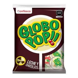 GLOBO POPS - MILK CHOCOLATE FLAVORED LOLLIPOPS , BAG X 24 UNITS