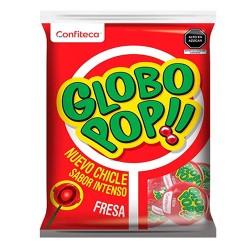 GLOBO POP - STRAWBERRY FLAVORED LOLLIPOPS , BAG X 24 UNITS