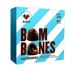 DI PERUGIA LICORINAS - CHOCOLATE TRUFFLE'S BONBON  FILLED WITH LIQUEUR PISCO AND RAISINS, BOX OF 12 UNITS