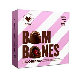 DI PERUGIA LICORINAS - CHOCOLATE BONBON FILLED WITH LIQUEUR FLAVORED COGNAC AND CHERRIES, BOX OF 12 UNITS