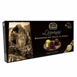 DI PERUGIA LICORINAS MACHU PICCHU - CHOCOLATE TRUFFLE'S BONBON  FILLED WITH LIQUEUR PISCO AND RAISINS, BOX OF 170 GR