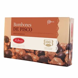 LA IBERICA - CHOCOLATE BONBONS, FILLED WITH LIQUEUR PISCO  , BOX OF 300 GR