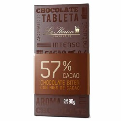 LA IBERICA - CHOCOLATE BITTER WITH COCOA NIBS , 57% CACAO - TABLET  X 90 GR