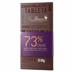 LA IBERICA - DARK CHOCOLATE WITH COCOA NIBS , 73% CACAO - TABLET  X 90 GR