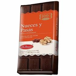 LA IBERICA - PERUVIAN MILK CHOCOLATE WITH RAISINS AND NUTS , TABLET X 200 GR