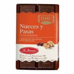 LA IBERICA - PERUVIAN MILK CHOCOLATE WITH RAISINS & NUTS , BOX OF 10 UNITS -TABLET X 40 GR