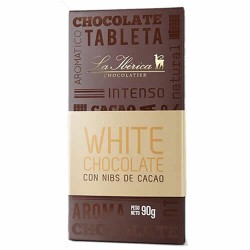 LA IBERICA - WHITE CHOCOLATE WITH COCOA NIBS - TABLET  X 90 GR