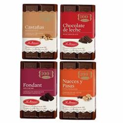 LA IBERICA TABLETS - BARS OF CHOCOLATE MILK (40 GR) MADE OF RAISINS, NUT, CHESTNUTS - PACK X 4 BARS