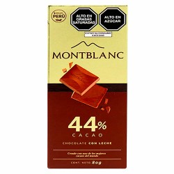 MONTBLANC - MILKY CHOCOLATE 44% CACAO ,TABLET BAR X 80 GR