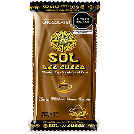 SOL DEL CUSCO -  CHOCOLATE TABLET TO CUP 42% COCOA, BAR X 90 GR