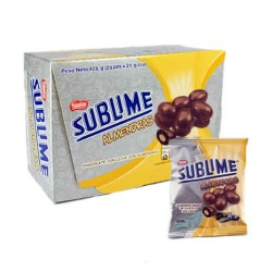 SUBLIME ALMENDRAS - ALMONDS PIECES COVERED MILK CHOCOLATE , BOX OF 20 BAGS