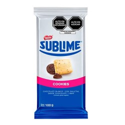 SUBLIME COOKIES - WHITE CHOCOLATE, COOKIES FLAVOR CHOCOLATE & PEANUT - TABLET X 100 GR