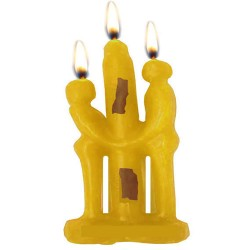 YELLOW COUPLE CANDLE FOR ATTRACTION AND FRIENDSHIP - DEVOTION BETWEEN LOVERS , RITUAL SPELL- PACK X 12 UNITS