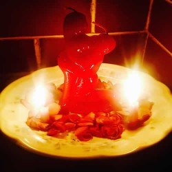 DOMINATION COUPLE CANDLE - WOMAN & HUMILIATED KNEELING MAN . FEMALE DOMINATION , RITUAL SPELL - PACK X 12 UNITS