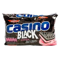 CASINO BLACK -  CHOCOLATE COOKIES FILLED WITH STRAWBERRY CREAM - BAG X 6 PACKETS