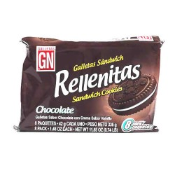 RELLENITAS - COOKIES FILLED WITH CHOCOLATE CREAM PERU, BAG X 8 PACKETS