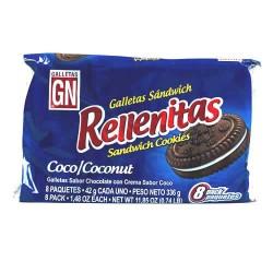RELLENITAS - PERUVIAN COOKIES FILLED COCONUT CREAM PERU, BAGX  8 PACKETS