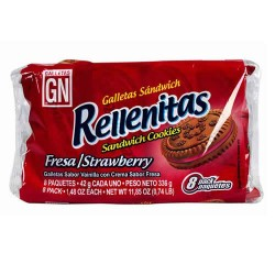 RELLENITAS - COOKIES FILLED WITH STRAWBERRY CREAM PERU, BAG X 8 PACKETS